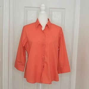 FOXCROFT Coral Shaped Fit Button Down (Size 12P)